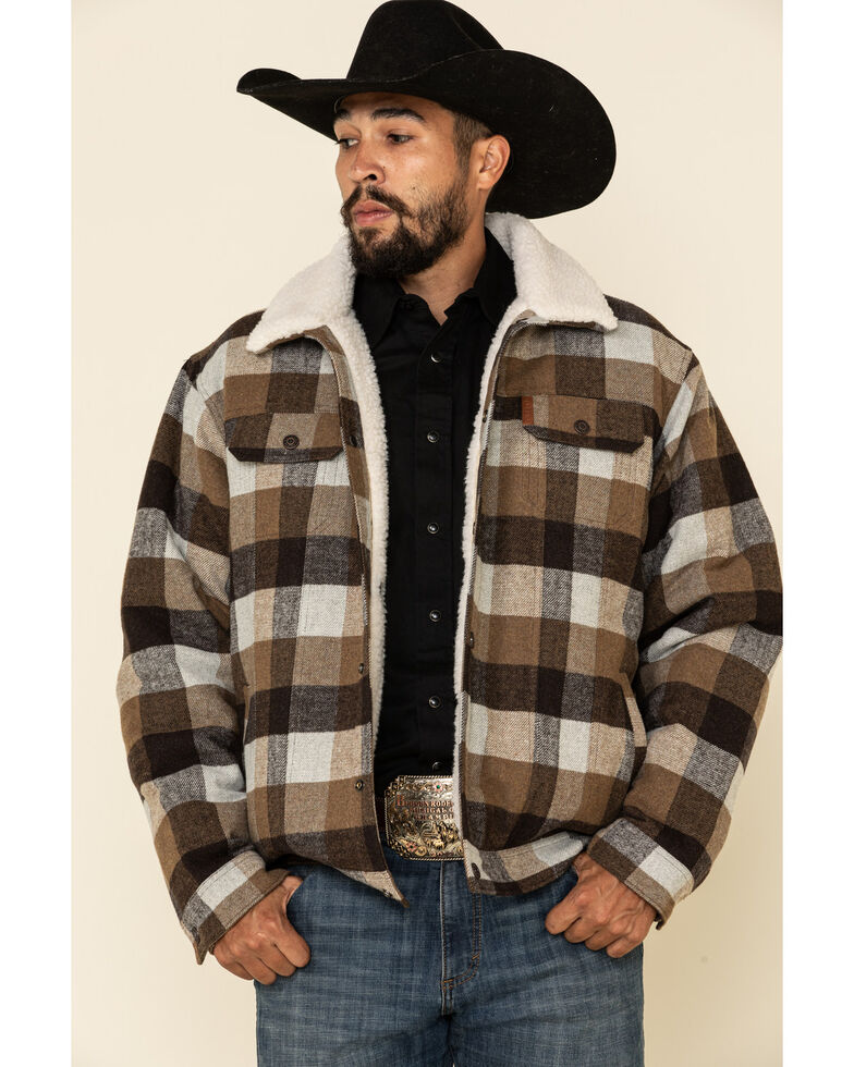 Cinch Men's Multi Plaid Concealed Carry Wool Sherpa Trucker Jacket , Multi, hi-res
