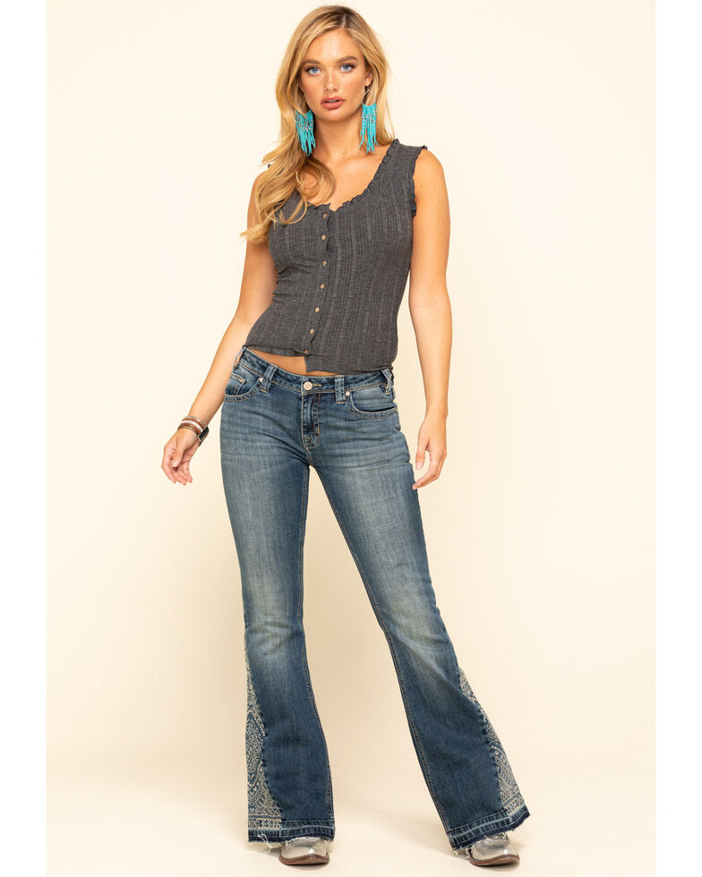 Rock & Roll Cowgirl Women's Embroidered Trousers, Blue, hi-res
