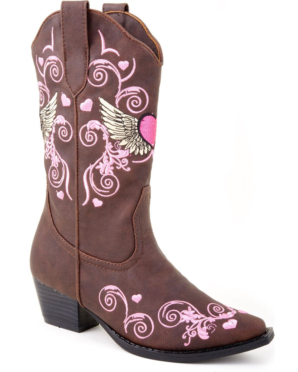 Roper Infant's Winged Heart Western Boots, Brown, hi-res