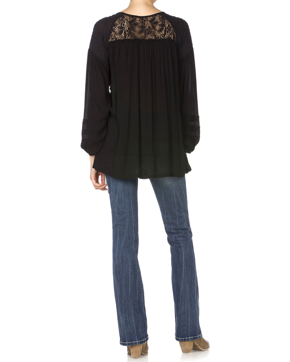 Miss Me Black Peasant Top, Black, hi-res