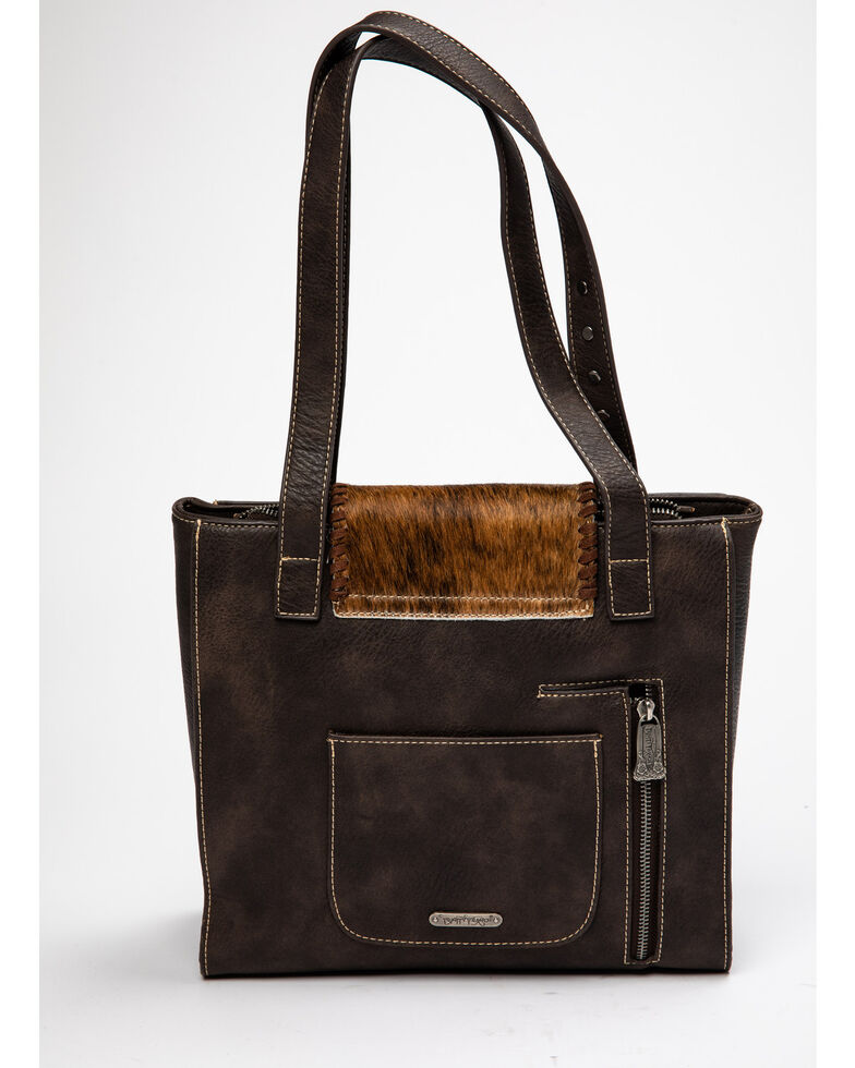 Montana West Trinity Ranch Women's Tooled Hair-On Tote Bag, Coffee, hi-res