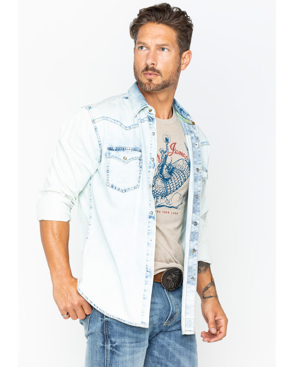Rock 47 by Wrangler Men's Blue Bleach Denim Shirt , Blue, hi-res