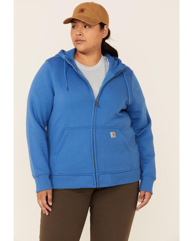 Carhartt Women's Medium Blue Clarksburg Zip-Front Hooded Work Sweatshirt - Plus, Medium Blue, hi-res