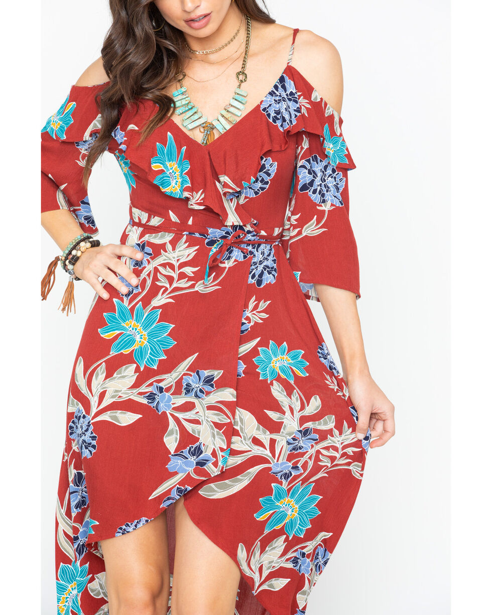 Shyanne Women's Floral Cold Shoulder Hi-Low Dress , Rust Copper, hi-res
