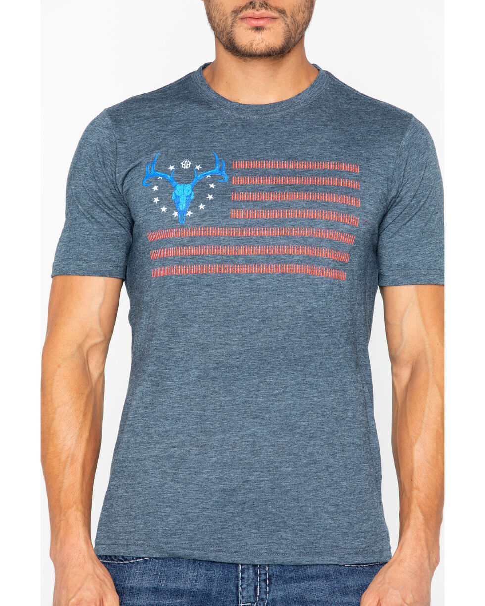 Cowboy Hardware Men's American Deer Fitted T-Shirt, Blue, hi-res