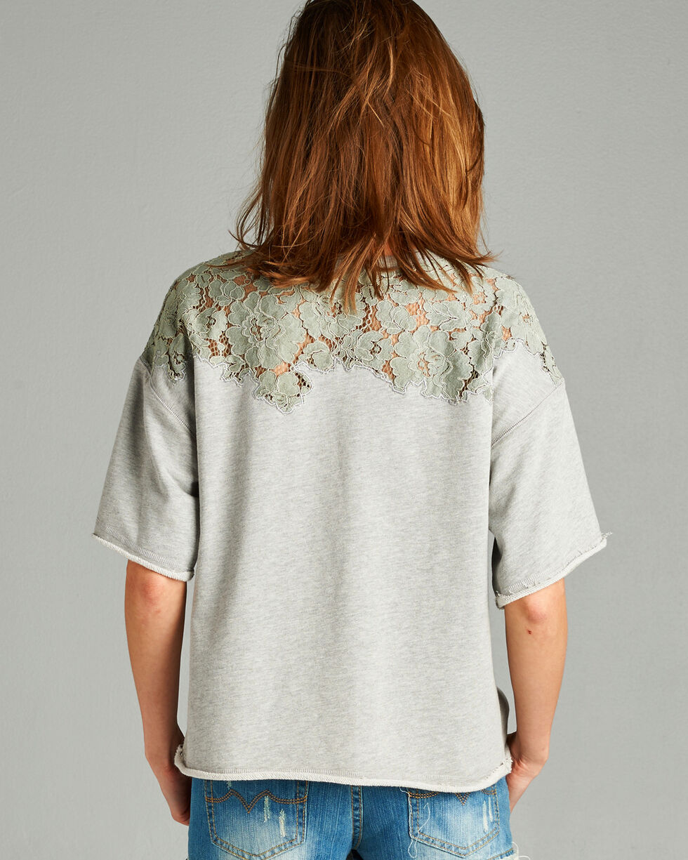 Hyku Women's Heather Grey Lace Applique Terri Top , Hthr Grey, hi-res