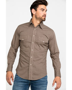 Wrangler Men's Wrinkle Resist Check Plaid Long Sleeve Western Shirt, Tan, hi-res