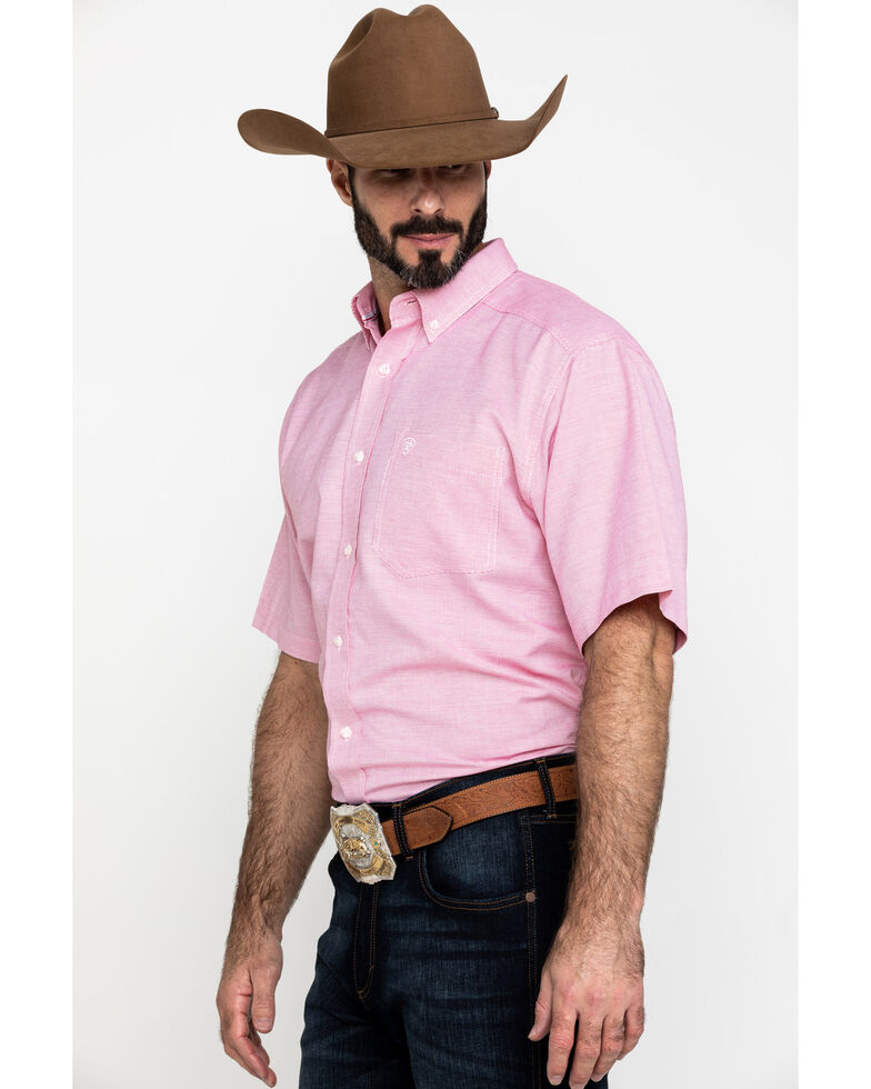 Ariat Men's Keyport Small Geo Print Short Sleeve Western Shirt - Big , Red, hi-res