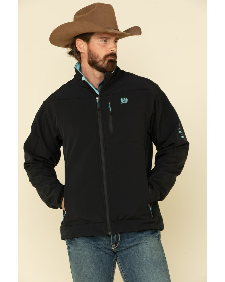 Cinch Men's Black Logo Solid Softshell Bonded Jacket , Black, hi-res