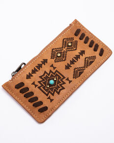 Shyanne Women's Harper Aztec Print Slim Credit Card Wallet , Brown, hi-res
