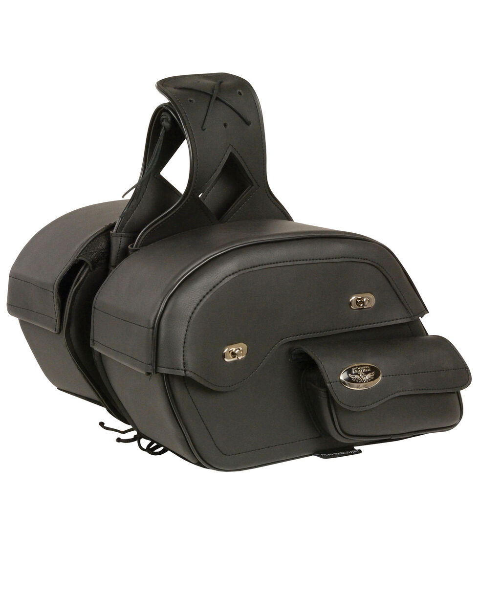 Milwaukee Leather Cruiser Style Motorcyle Saddle Bag , Black, hi-res