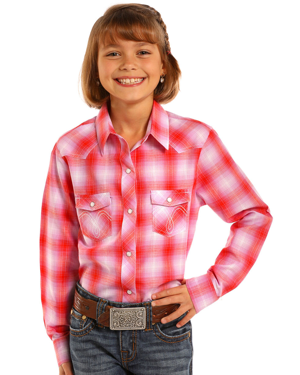 Panhandle Girls' Pink Plaid Long Sleeve Shirt , Pink, hi-res