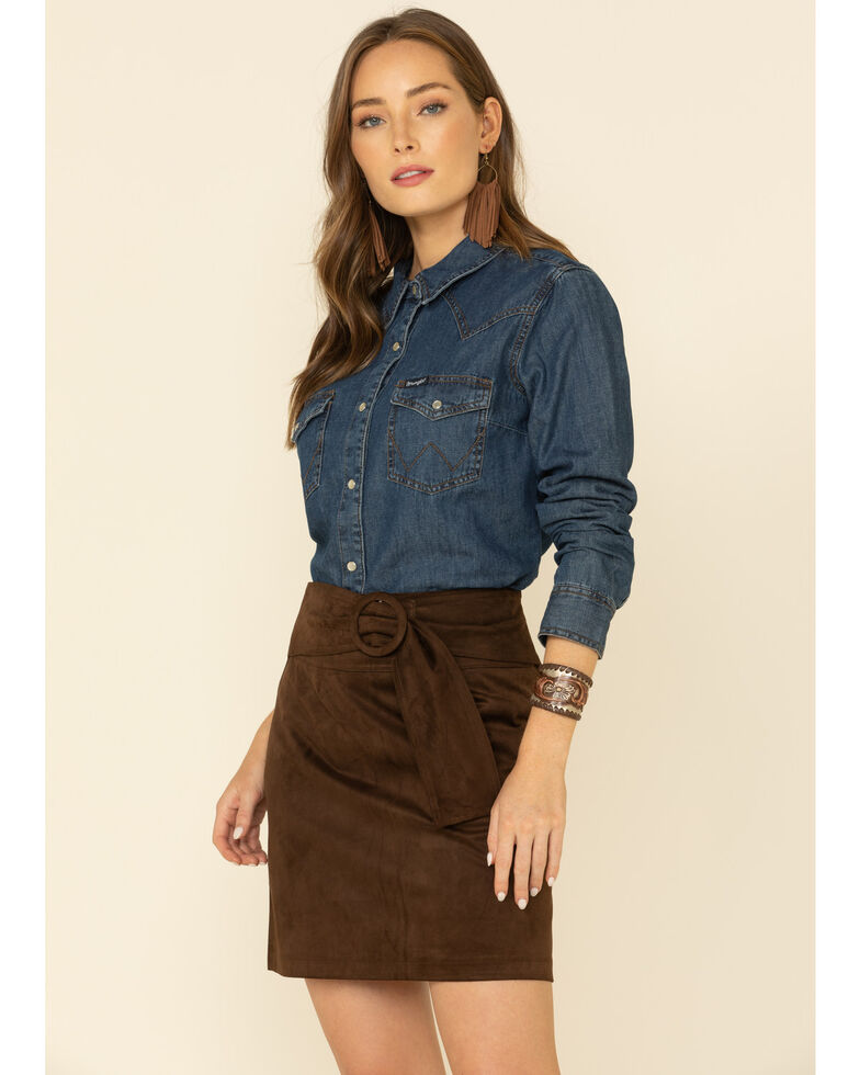 Molly Bracken Women's Suede Belted Skirt , Chocolate, hi-res
