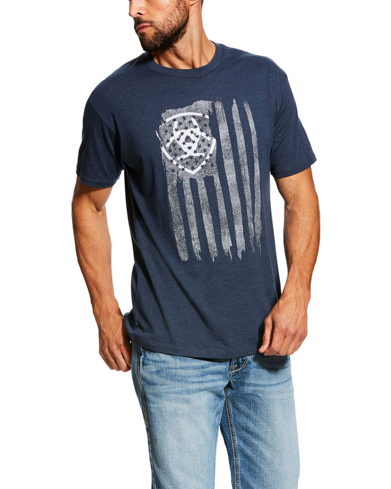 Ariat Men's Navy Vertical Flag Graphic Short Sleeve T-Shirt , Navy, hi-res