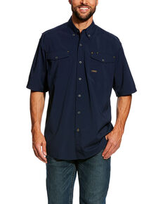Ariat Men's Navy Rebar Made Tough Vent Short Sleeve Work Shirt - Tall , Navy, hi-res