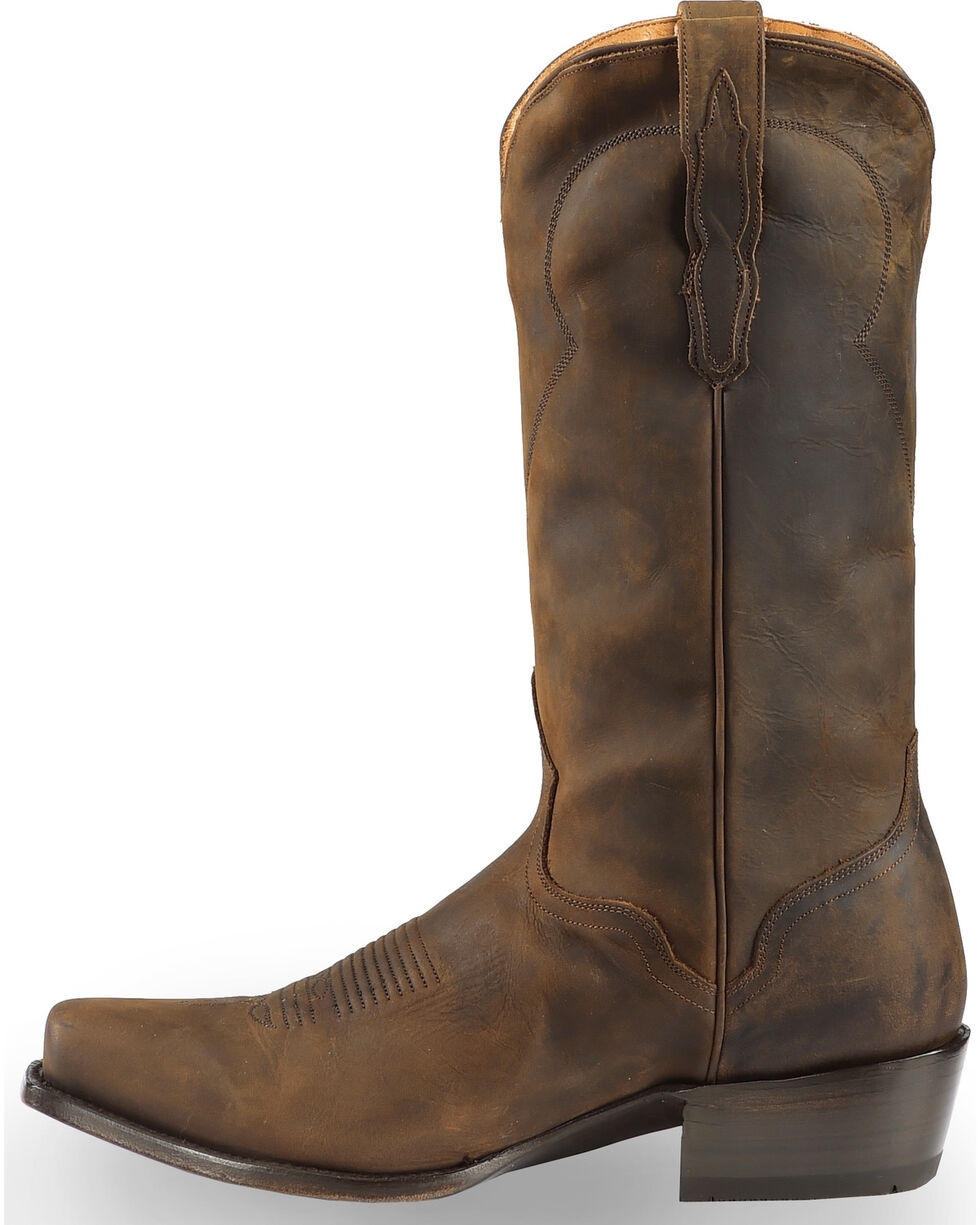 El Dorado Men's Handmade Tan Oiled Roper Boots - Square Toe, Tan, hi-res