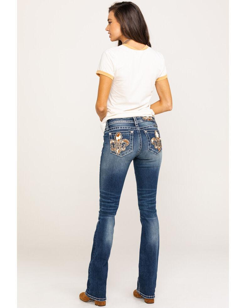 Miss Me Women's Medium Fleur-de-lis Cow Print Bootcut Jeans, Blue, hi-res