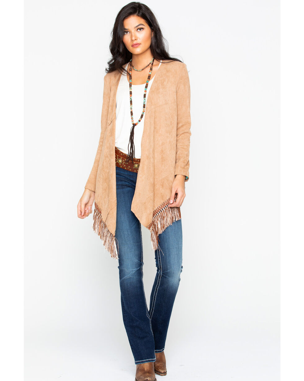 Cripple Creek Women's Microsuede Fringe Cardigan, Tan, hi-res