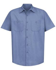 Red Kap Men's Blue Solid Industrial Short Sleeve Work Shirt - Tall , Blue, hi-res