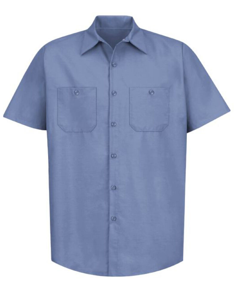 Red Kap Men's Blue Solid Industrial Short Sleeve Work Shirt - Tall , Blue, hi-res