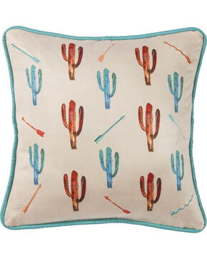 HiEnd Accents Cream Cactus Embroidered Pillow , Cream, hi-res