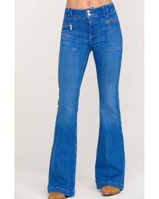 Free People Women's Layla Flare Jeans, Blue, hi-res
