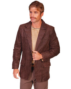Scully Men's Frontier Leather Button Front Blazer - Big & Tall, Brown, hi-res