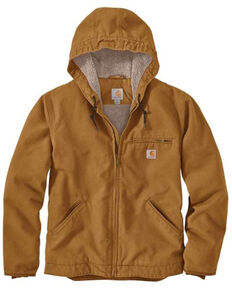 Carhartt Men's Brown Washed Duck Sherpa Lined Hooded Work Jacket - Tall , Brown, hi-res