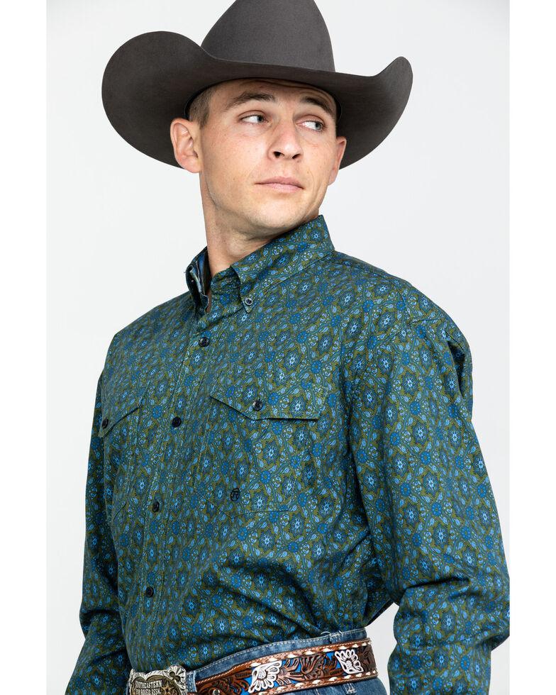 Roper Men's Amarillo Meadow Paisley Print Long Sleeve Western Shirt , Green, hi-res