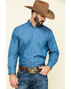 Ely Cattleman Men's Indigo Blue Paisley Print Long Sleeve Western Shirt , Indigo, hi-res