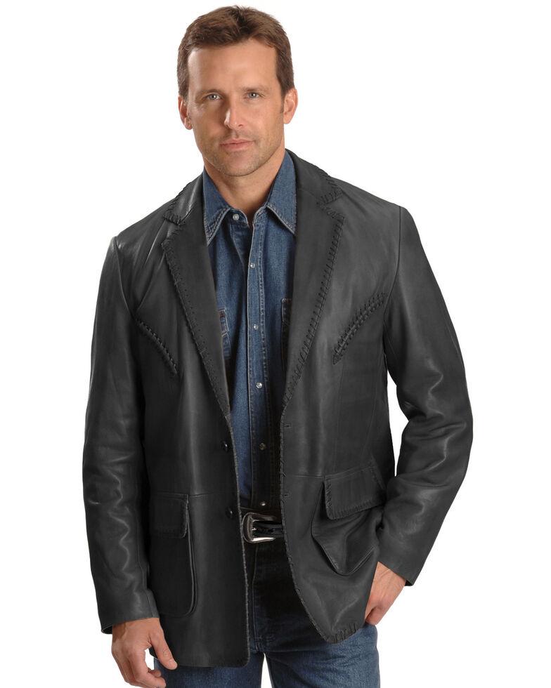 Scully Men's Whipstitch Leather Blazer, Black, hi-res