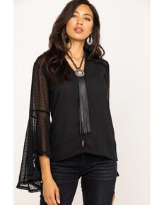White Label by Panhandle Women's Swiss Dot Flare Blouse, Black, hi-res