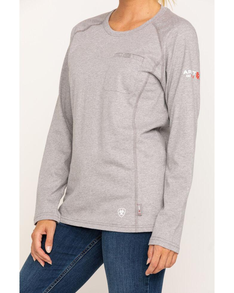 Ariat Women's FR Heather Grey Air Crew Pocket Long Sleeve Work Tee , Light Grey, hi-res