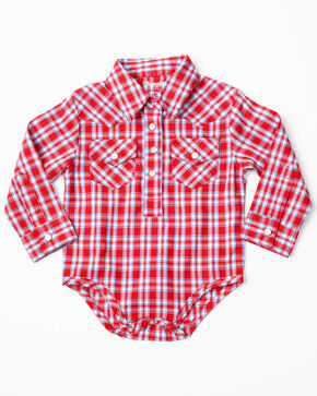 Wrangler Infant Boys' Red Plaid Long Sleeve Western Onesie, Red, hi-res