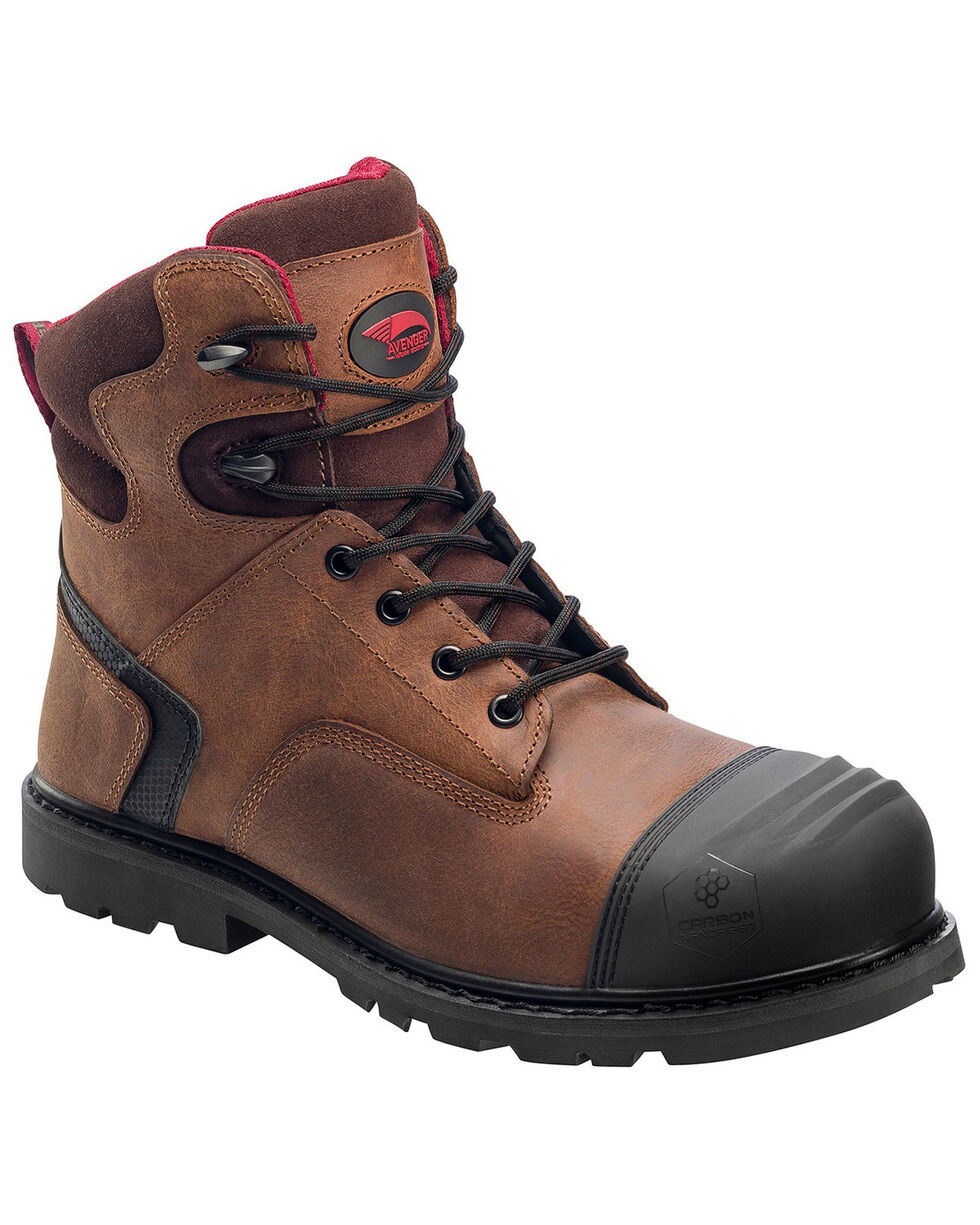 "Avenger Men's 8"" Slip Resistant Work Boots - Composite Toe, Brown, hi-res"