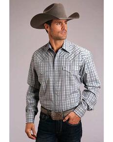 Stetson Men's Mist Check Plaid Long Sleeve Western Shirt , Blue, hi-res