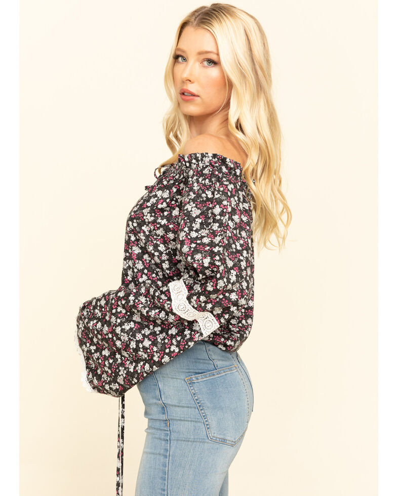 Red Label by Panhandle Women's Ditsy Floral Off The Shoulder Top, Black, hi-res