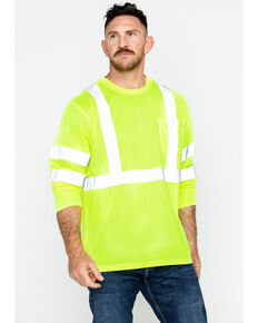 Hawx Men's Reflective Long Sleeve Work Tee , Yellow, hi-res