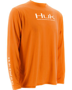 Huk Performance Fishing Men's ICON Long Sleeve T-Shirt , Orange, hi-res