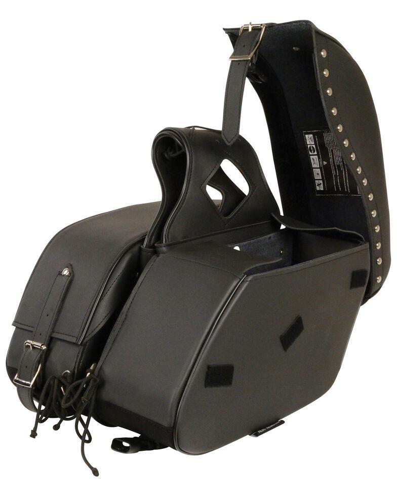 Milwaukee Leather Zip-Off PVC Studded Throw Over Saddle Bag, Black, hi-res
