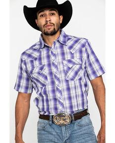 Wrangler Men's Purple Plaid Fashion Snap Short Sleeve Western Shirt , Purple, hi-res