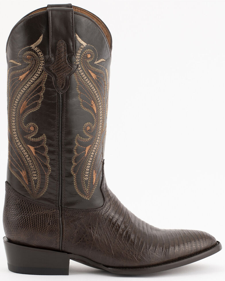 Ferrini Men's Peanut Teju Lizard Cowboy Boots - Medium Toe, Chocolate, hi-res