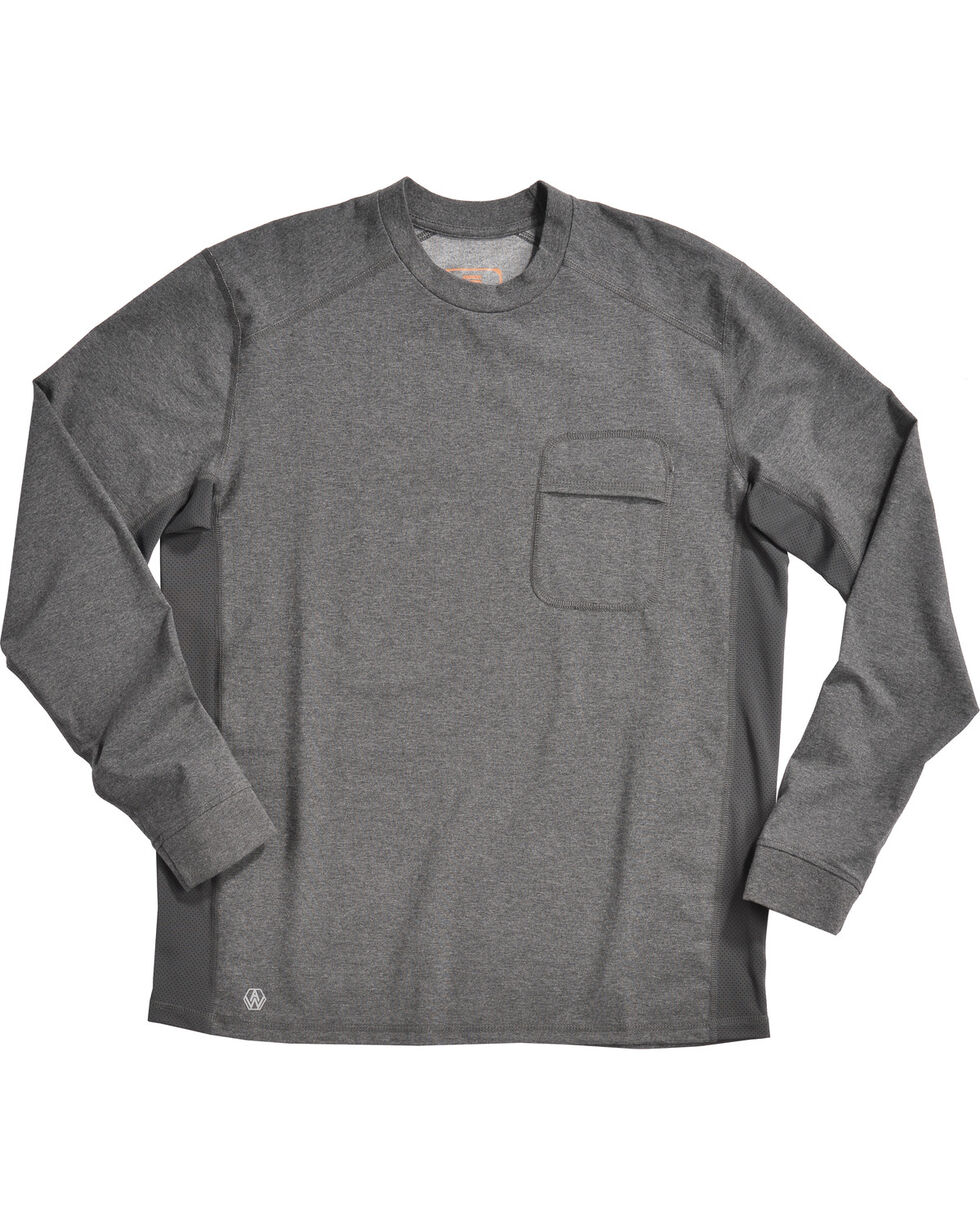 American Worker® Men's Execute Performance Crew Shirt , Heather Grey, hi-res
