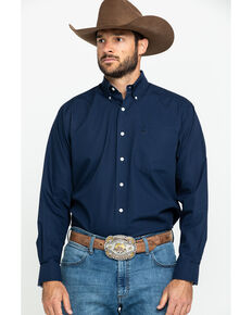 Ariat Men's Navy Wrinkle Free Button Long Sleeve Western Shirt - Tall , Navy, hi-res