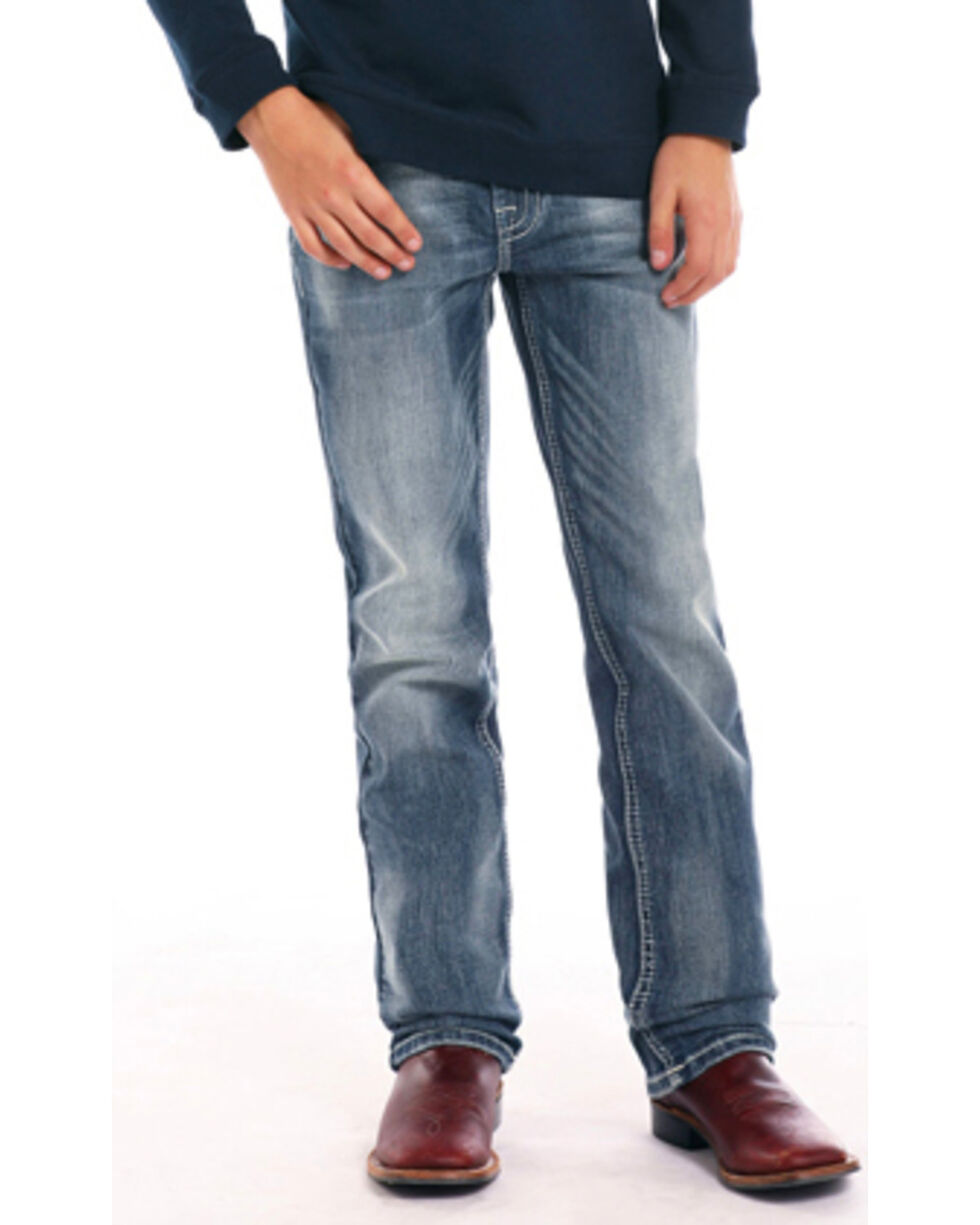 Rock & Roll Cowboy Boys' Double V Embroidered Straight Leg Jeans , Blue, hi-res