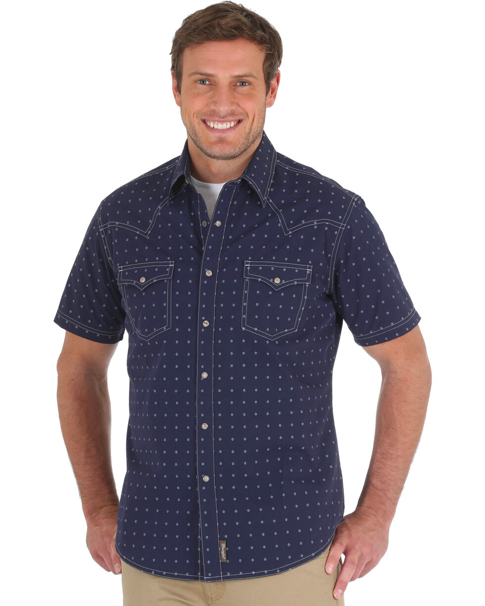 Wrangler Men's Navy Retro Spotted Western Shirt - Big & Tall, Navy, hi-res
