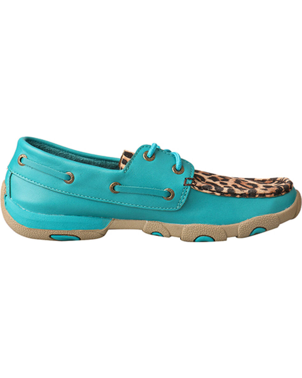 Twisted X Women's Turquoise/Leopard Driving Moccasins, Turquoise, hi-res