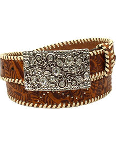 Nocona Women's Laced Edge Belt , Tan, hi-res