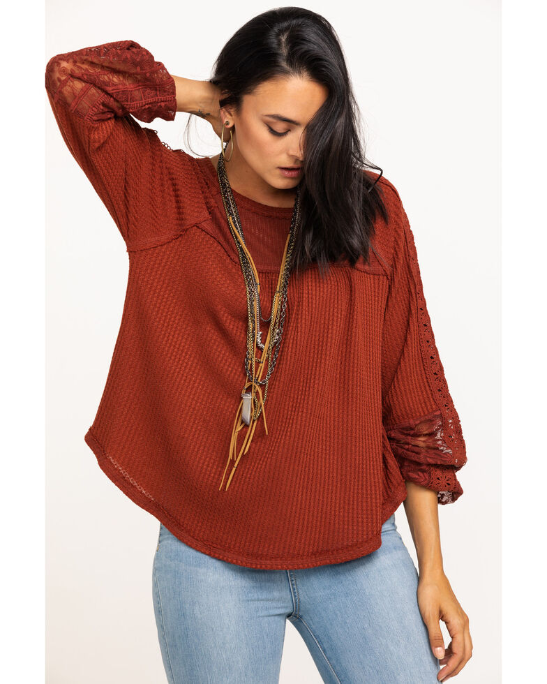 Miss Me Women's Rust Lace Sleeve Thermal Top, Rust Copper, hi-res