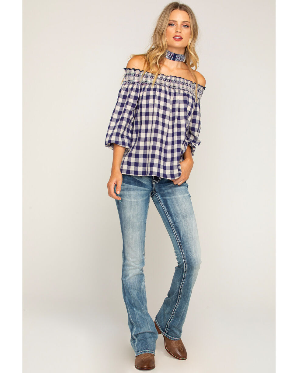 Shyanne Women's Gingham Off-The-Shoulder Long Sleeve Top, Navy, hi-res